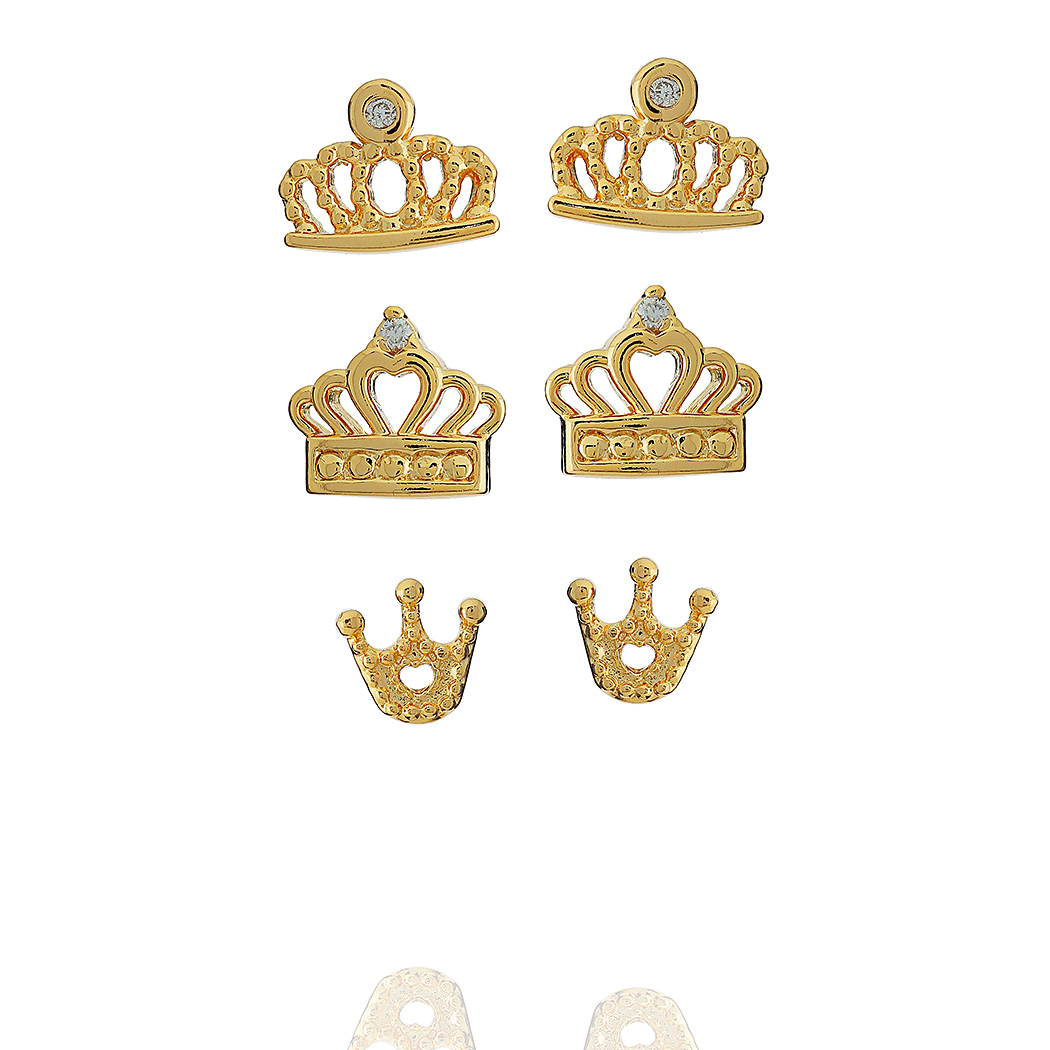 brinco trio coroa zircônia dourado