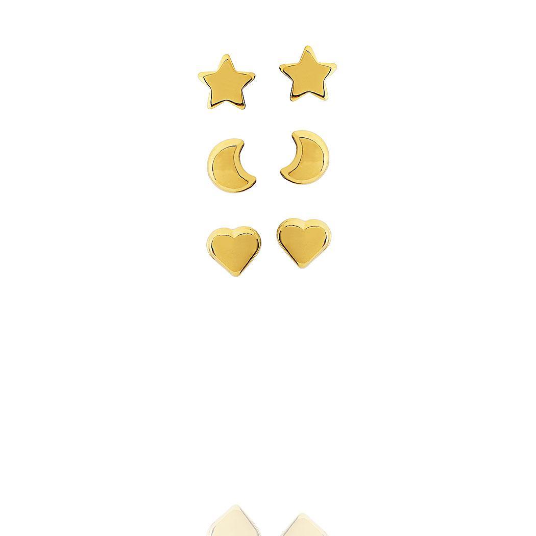 brinco trio estrela lua coração dourado