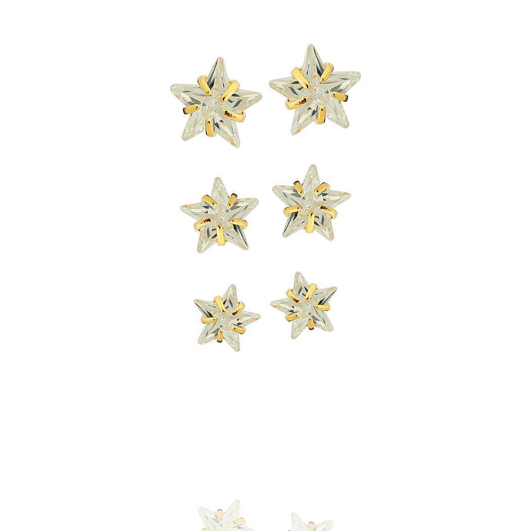 brinco trio estrelas zircônias dourado