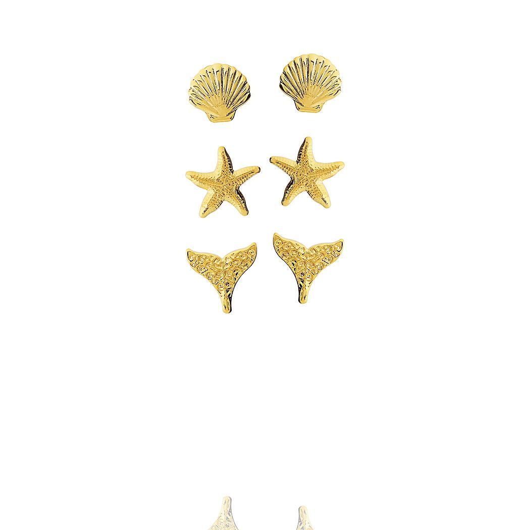 brinco trio oceano dourado