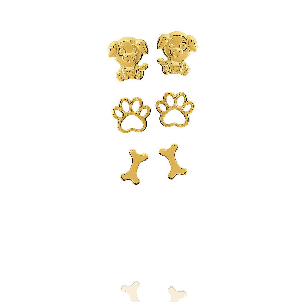 brinco trio pet dourado