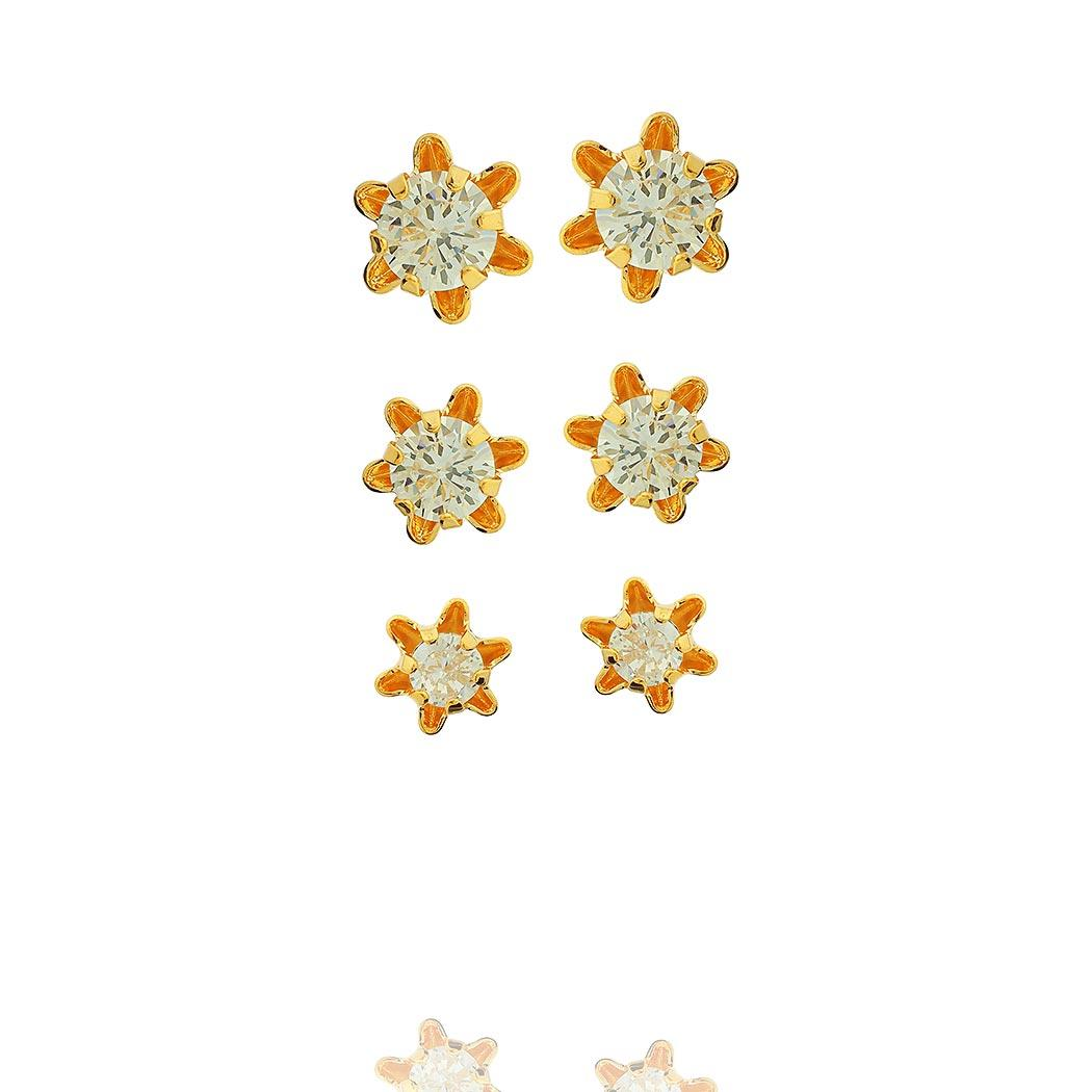 brinco trio solitário flor dourado