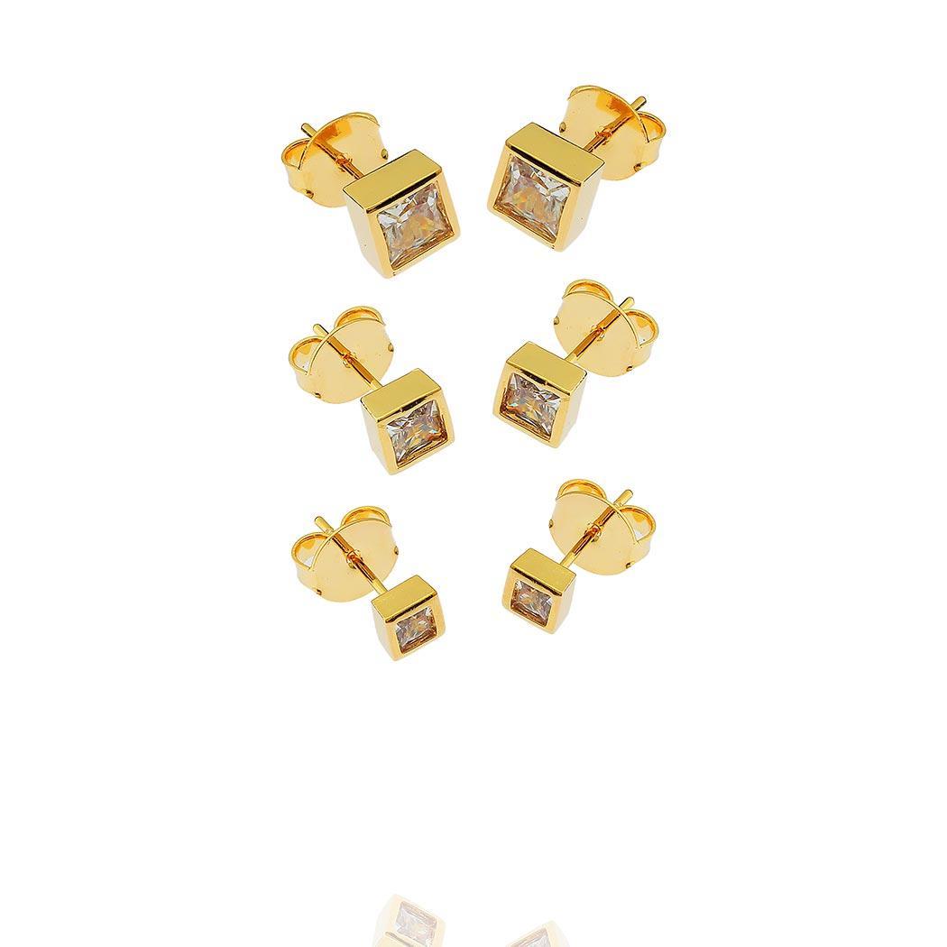 brinco trio solitário quadrado daiany hank dourado