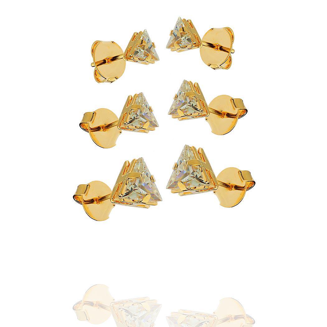 brinco trio solitário triângulo dourado