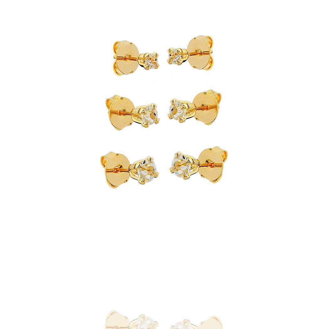 brinco trio solitário zirconia dourado