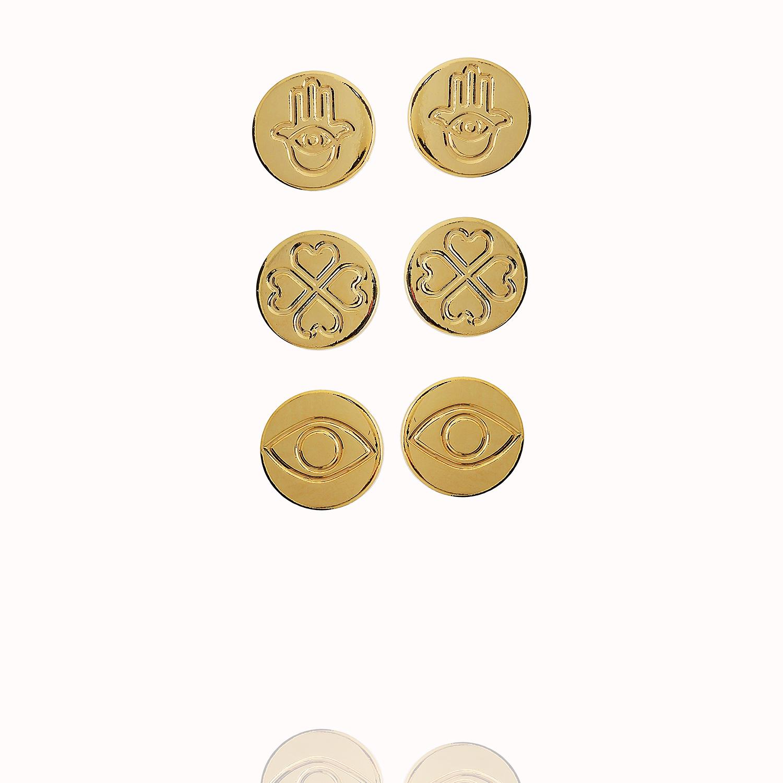 brinco trio sorte dourado