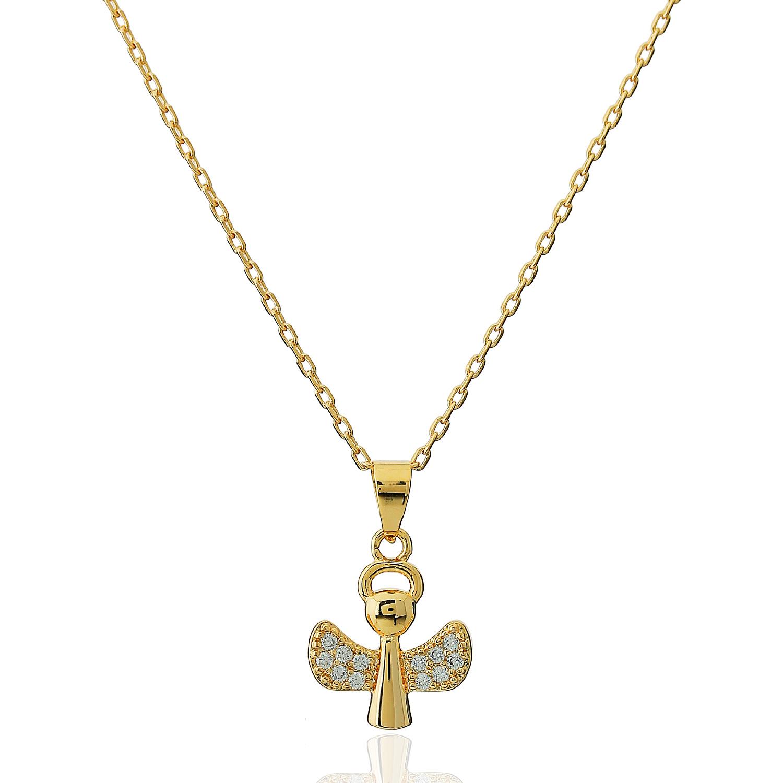 colar anjo da guarda cravejado zircônias dourado