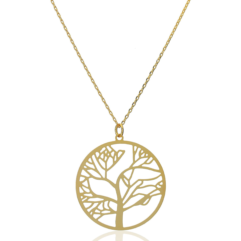 colar árvore da vida grande dourado
