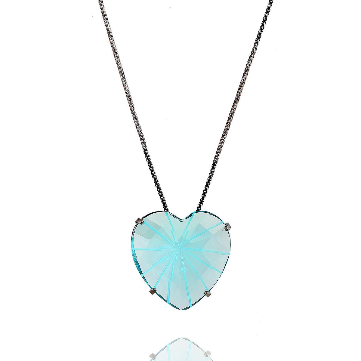 colar aurora boreal coração zircônia azul ródio negro