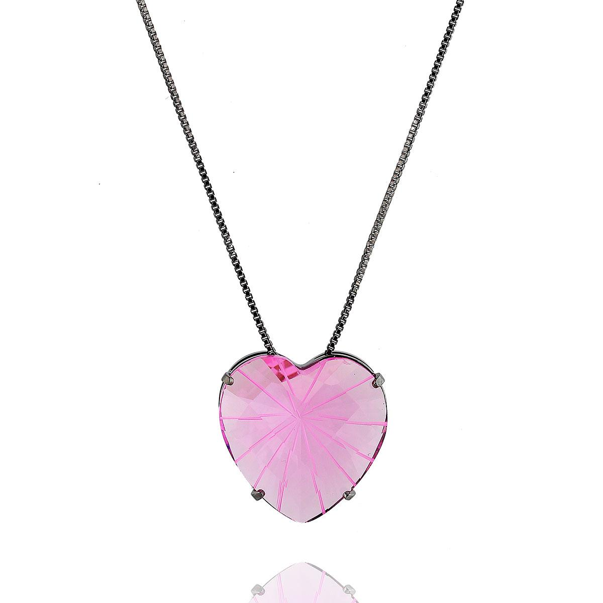 colar aurora boreal coração zircônia rosa