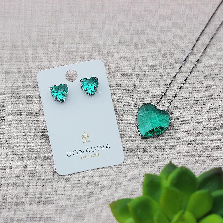 colar aurora boreal coração zircônia verde ródio negro