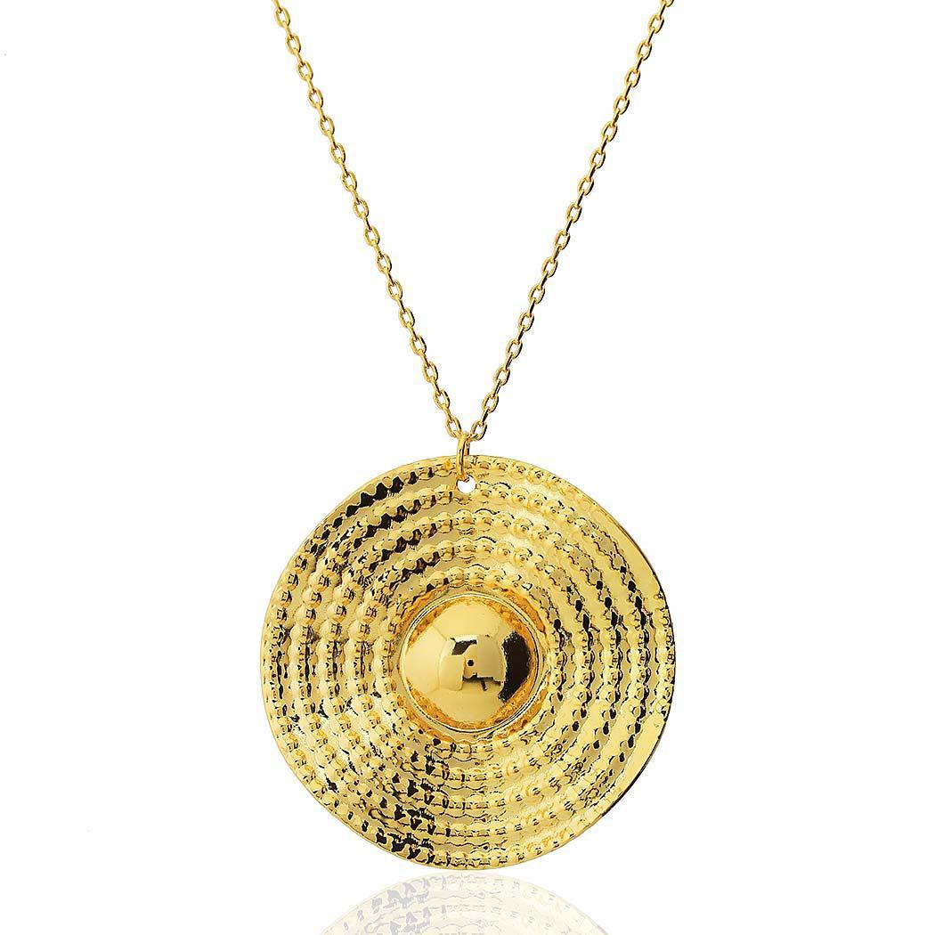 colar circular ondas dourado