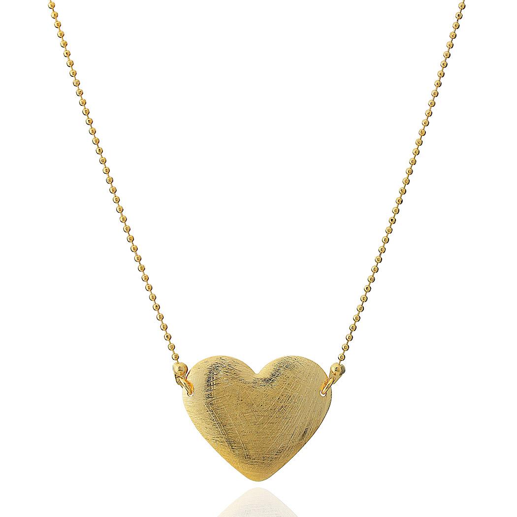 colar coração bolinhas escovado dourado