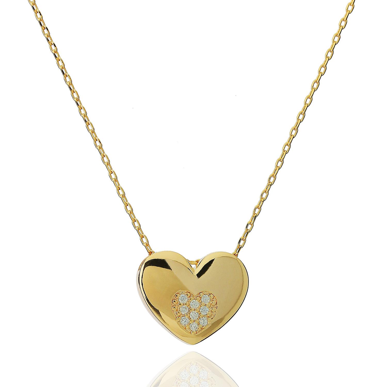 colar coração cravejado dourado
