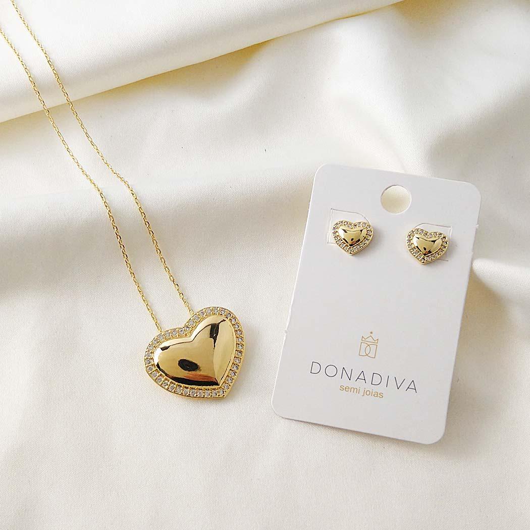 colar coração cravejado zircônias dourado