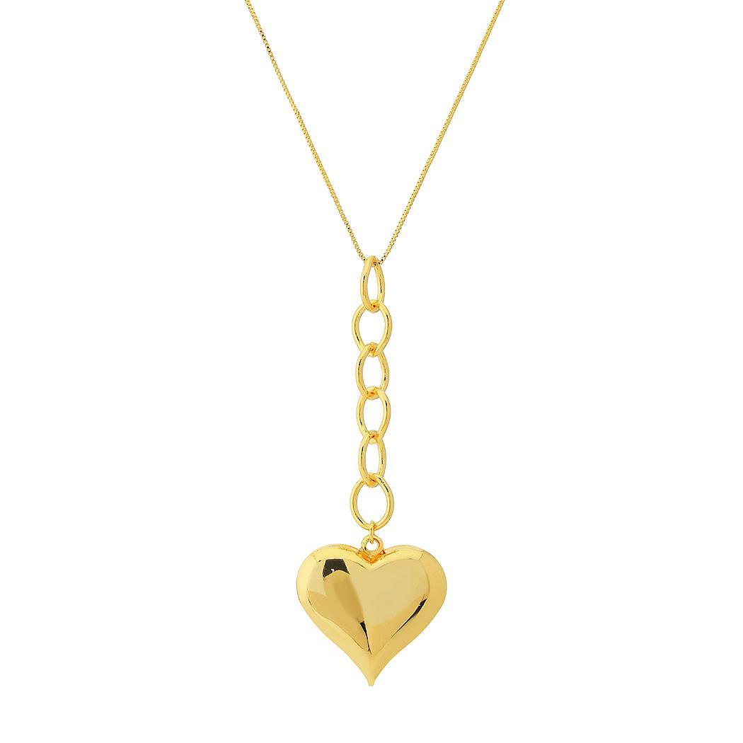 colar coração grande elos dourado