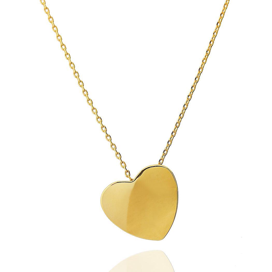 colar coração liso dourado
