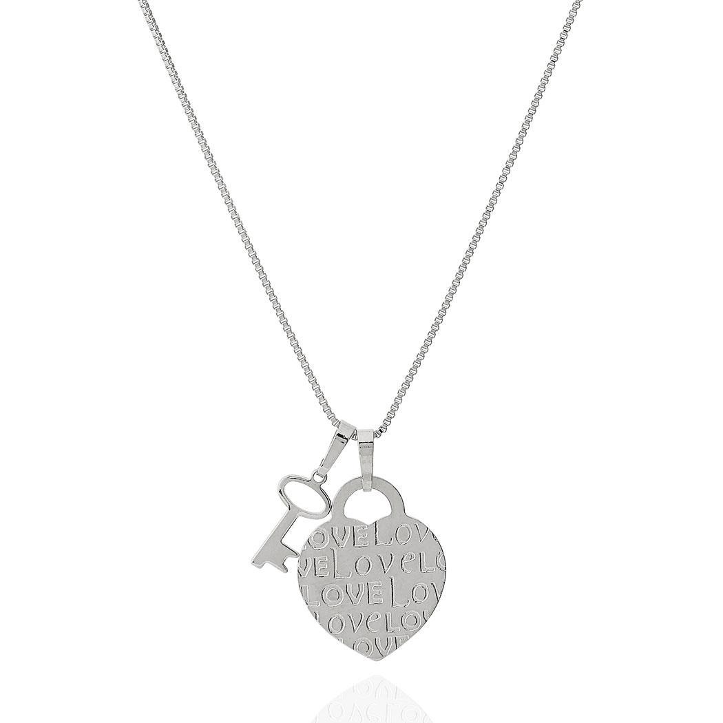 colar coração love chave ródio claro