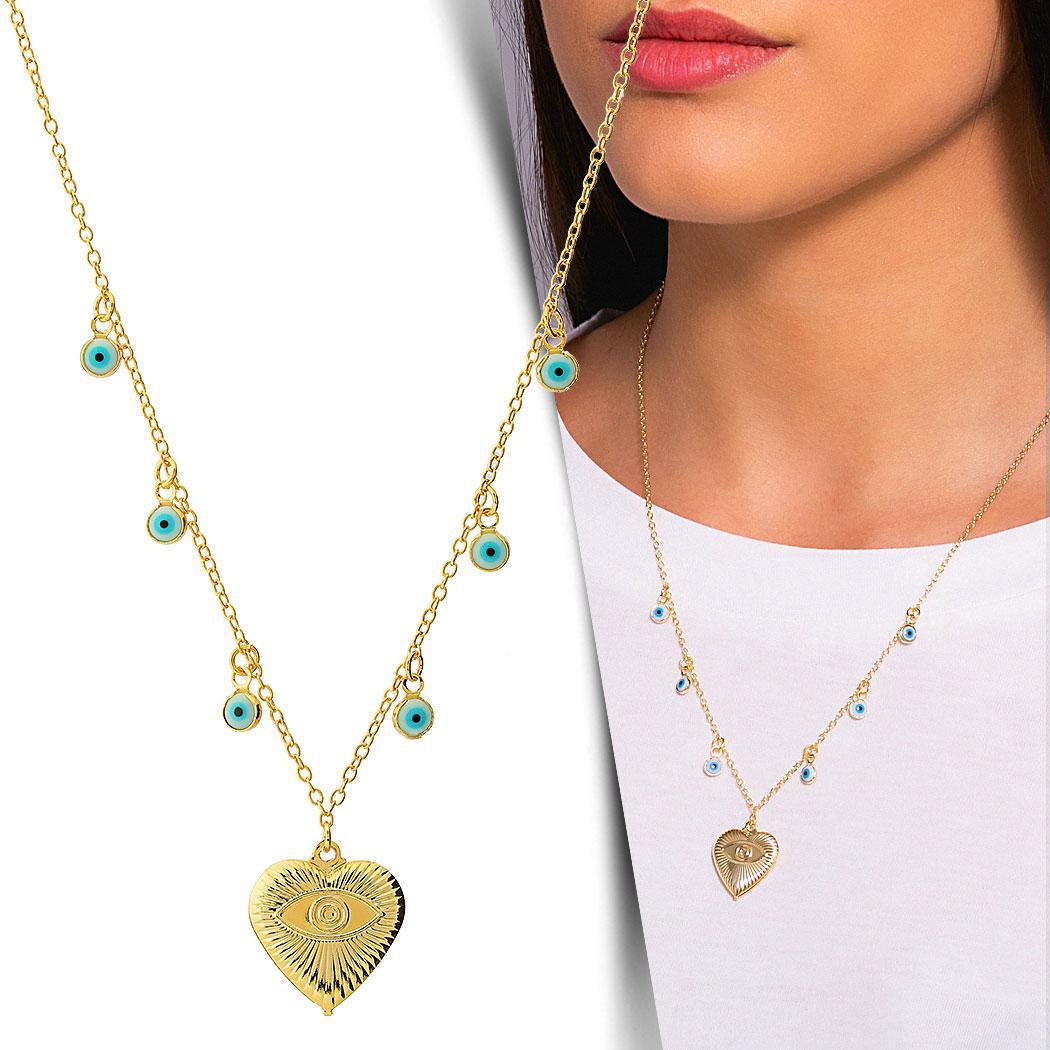 colar coração olho grego dourado