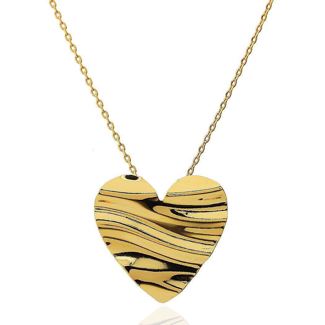 colar coração ondas dourado