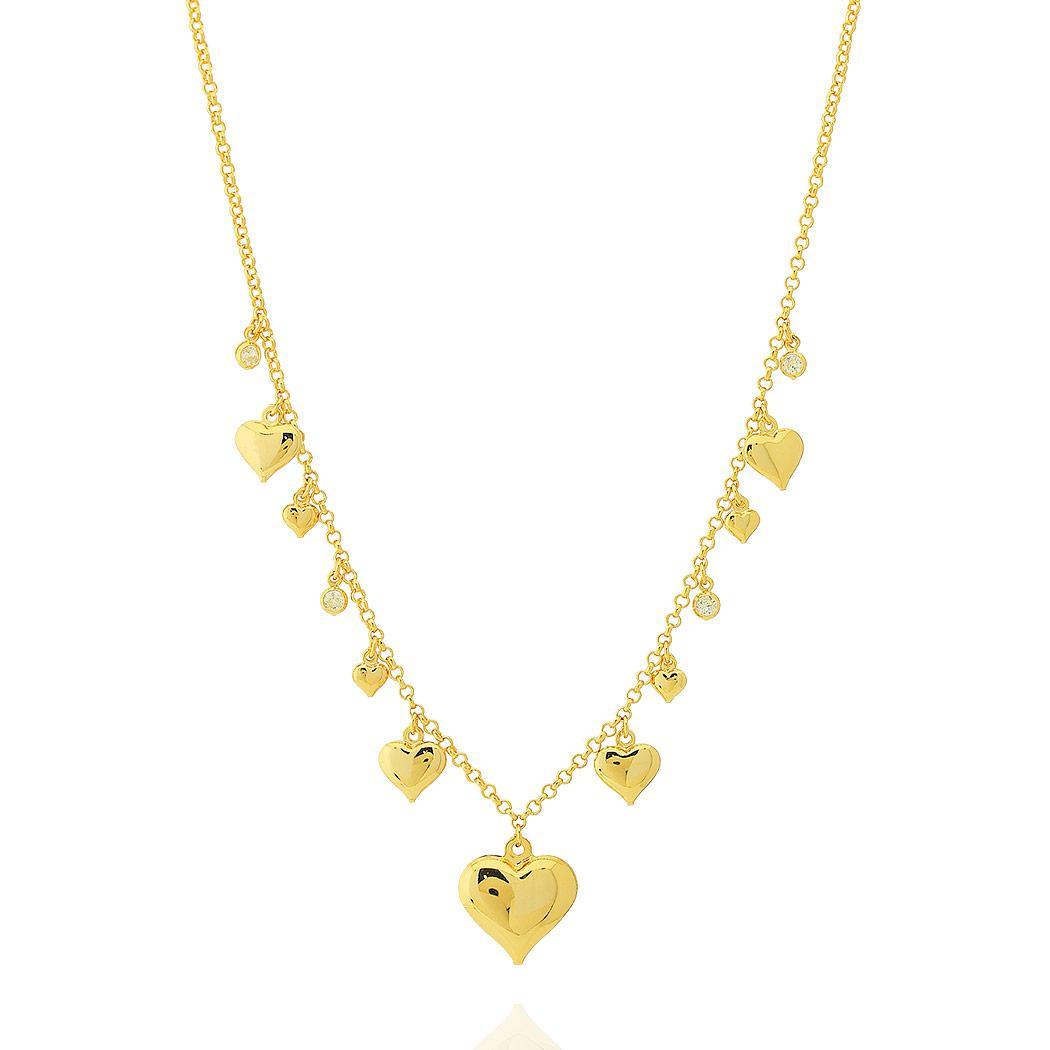 colar corações curto zircônias dourado