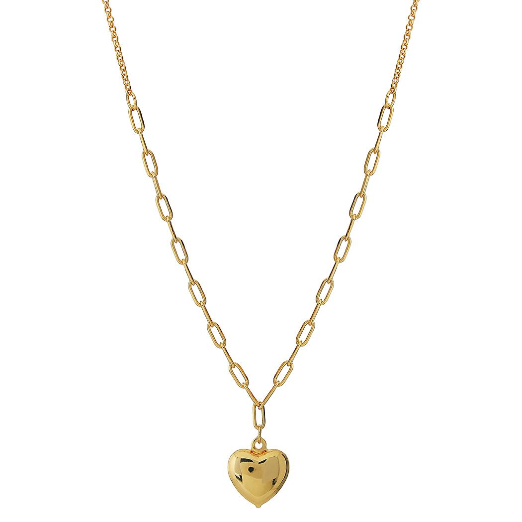 colar corrente coração dourado