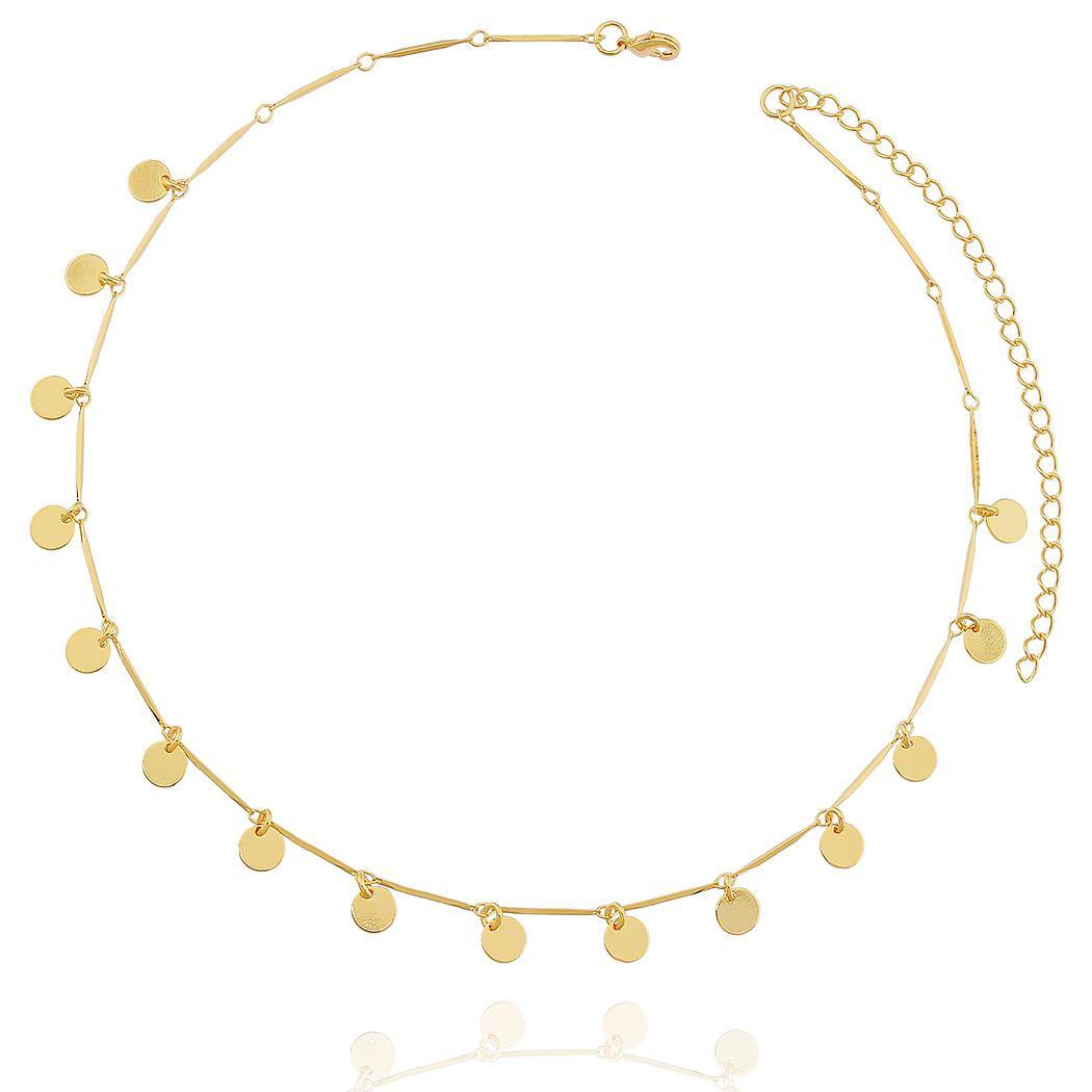 colar curto choker medalhinhas dourado