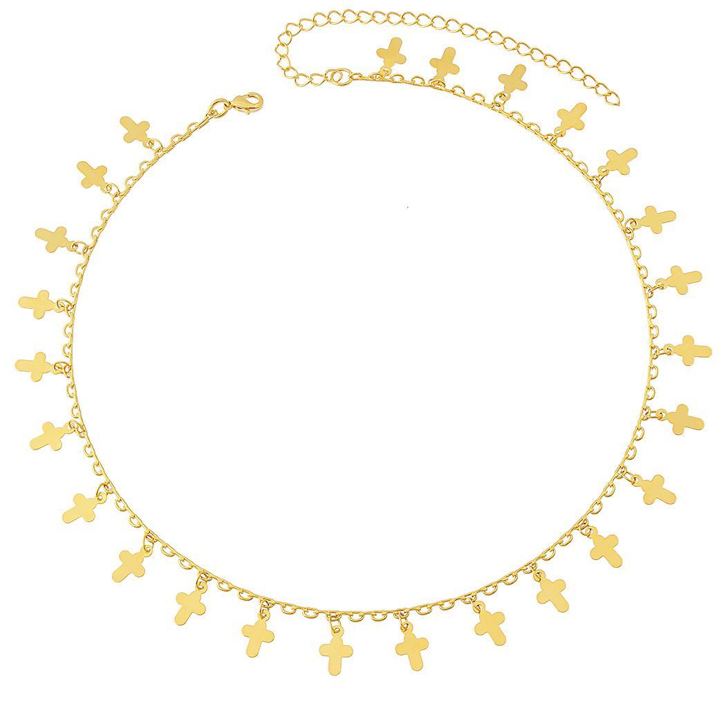 colar curto crucifixos dourado