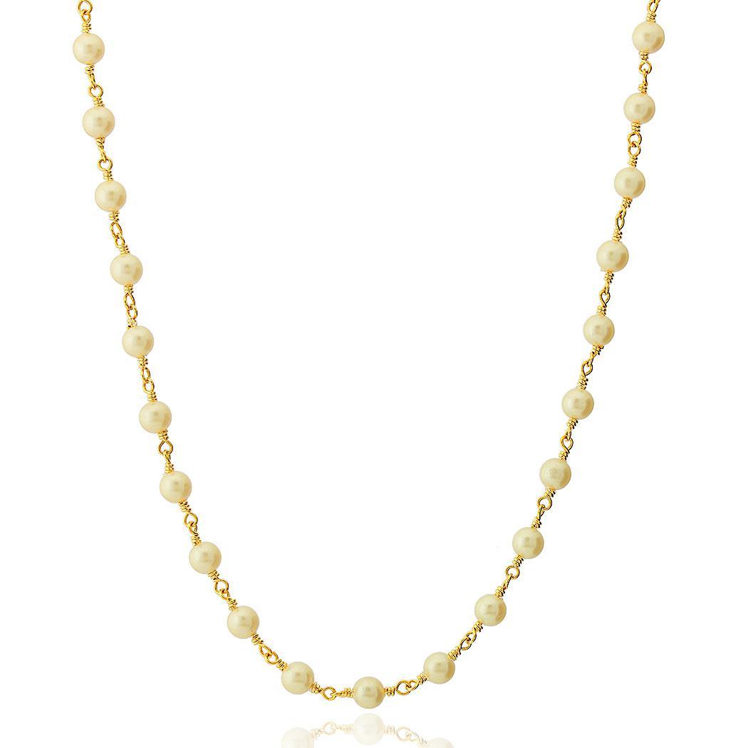 colar curto pérolas dourado