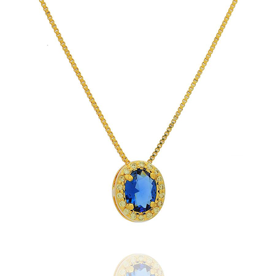 colar da princesa oval zircônia azul safira semijoia dourado