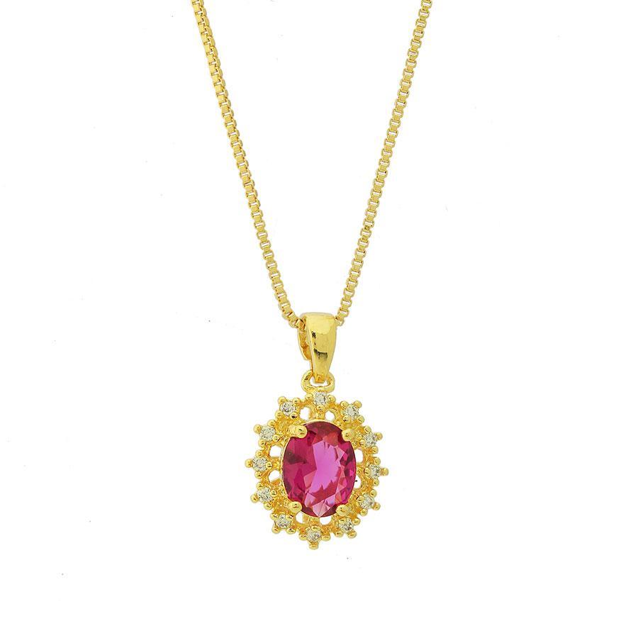 colar da princesa oval zircônia rubi dourado