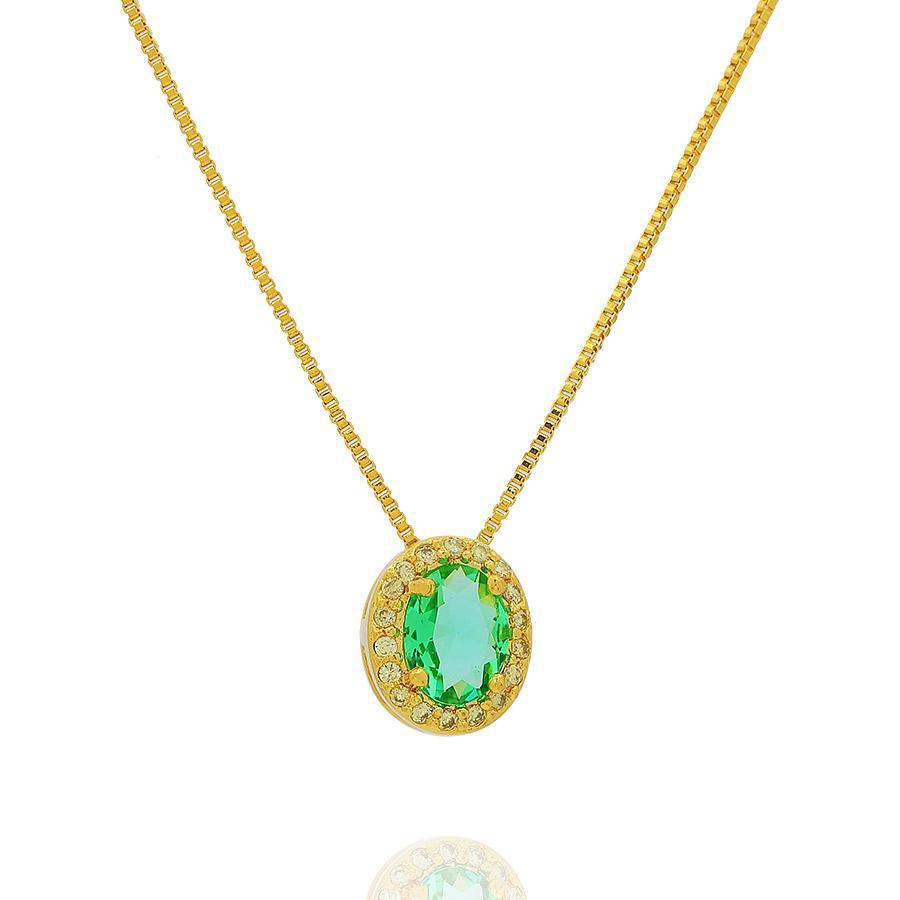colar da princesa oval zircônia verde esmeralda semijoia dourado