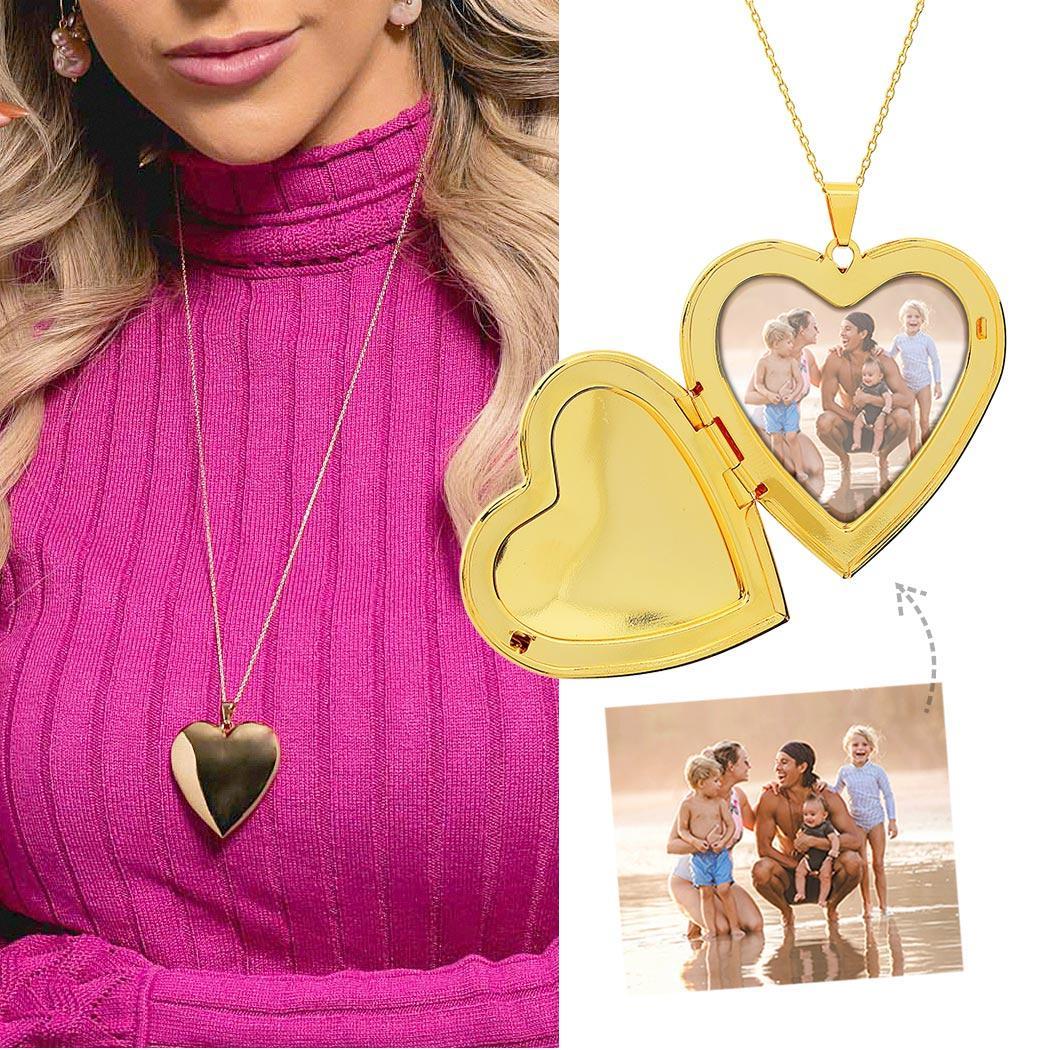 colar Daiany Hank relicário foto coração extra grande dourado