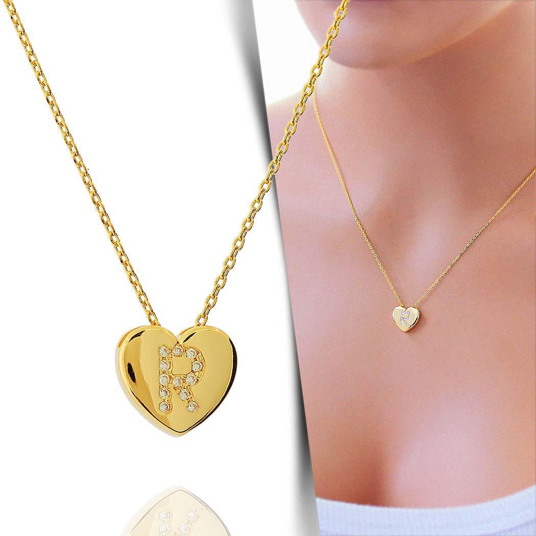 colar de letra coração zircônias personalizado
