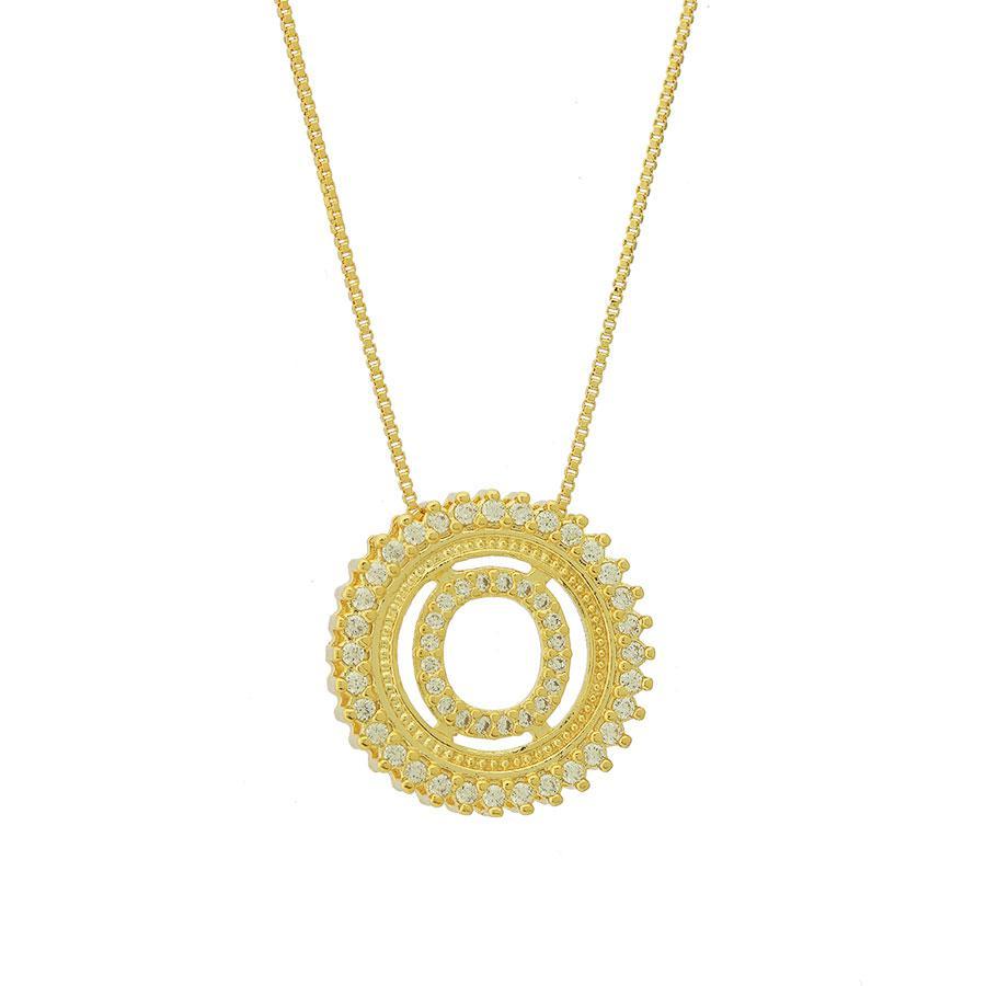 colar de letra O cravejado de zircônias dourado