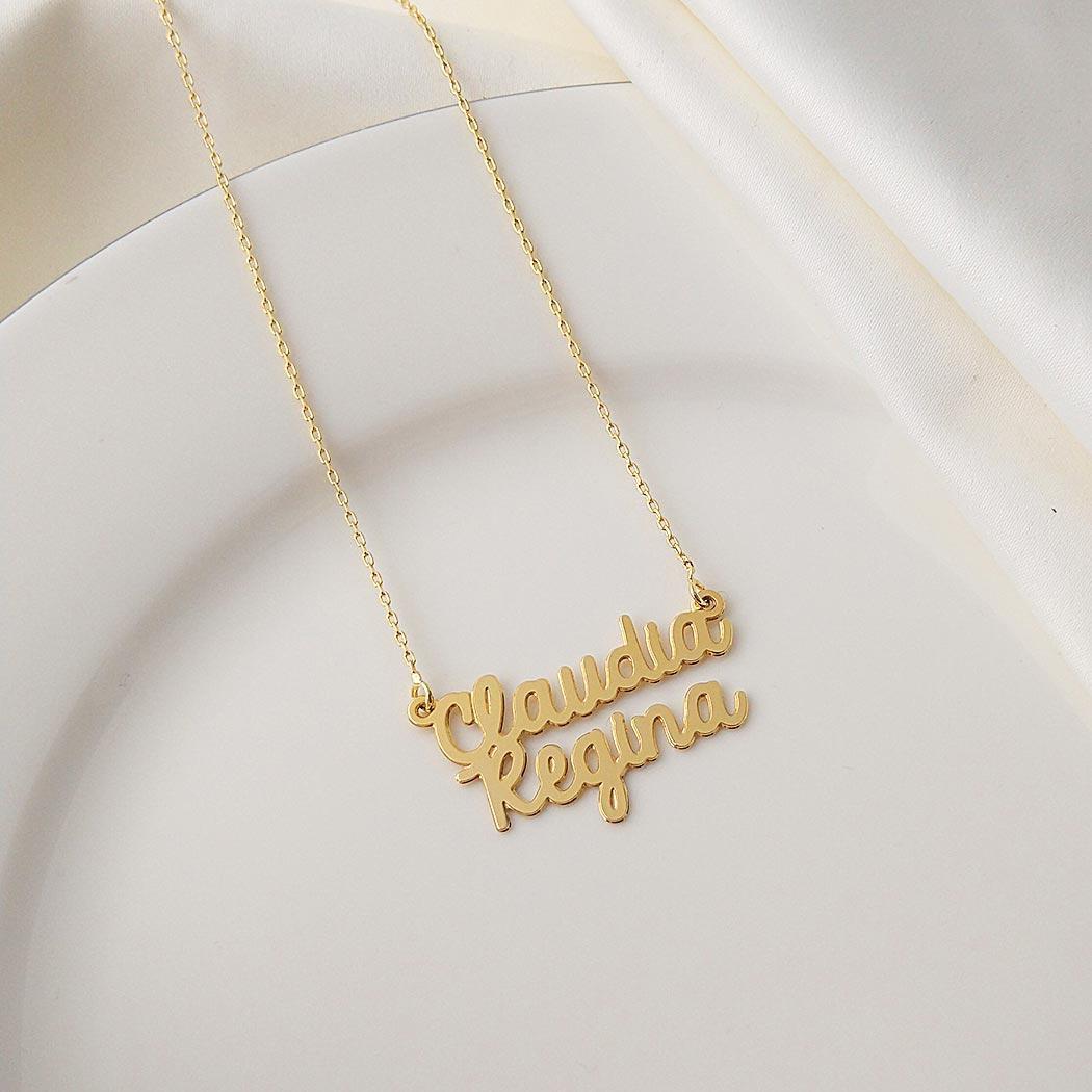 colar de nome composto caligrafia personalizado