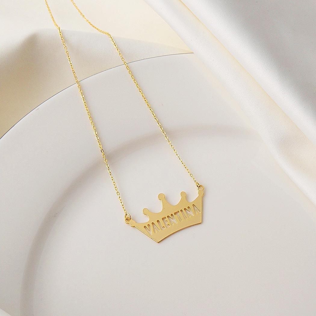 colar de nome coroa personalizado