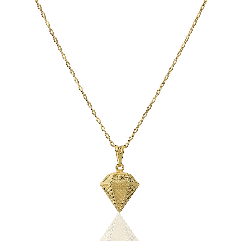 colar diamante liso dourado