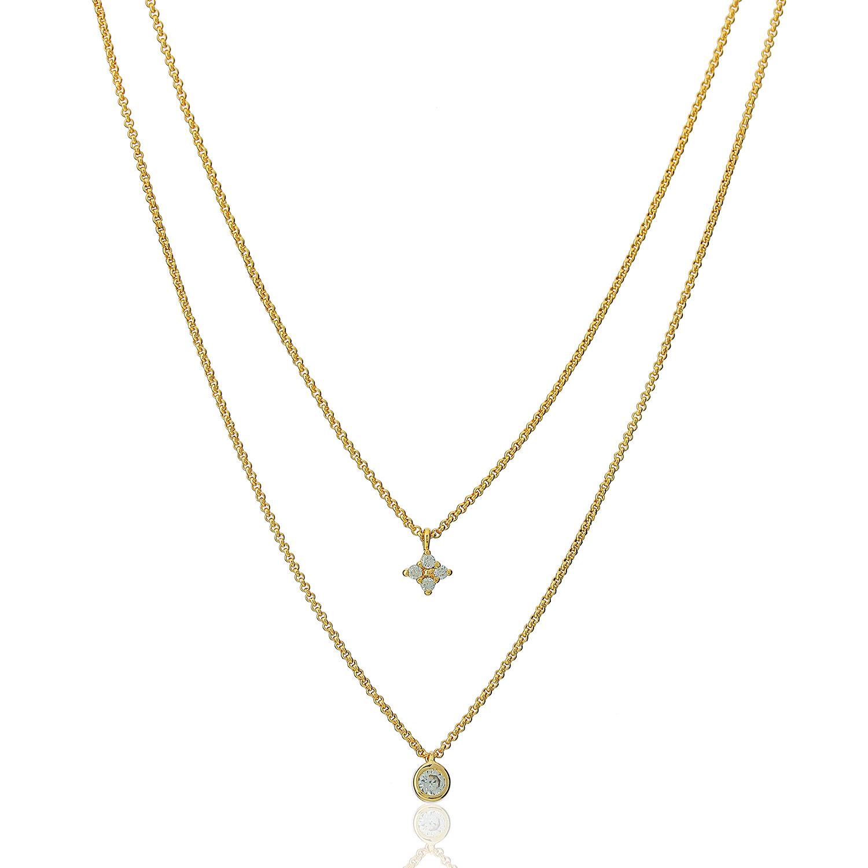 colar duplo solitário estrela zircônia dourado