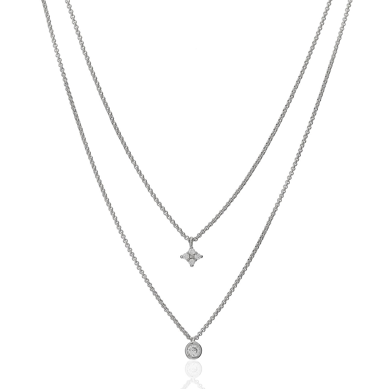 colar duplo solitário estrela zircônia ródio claro