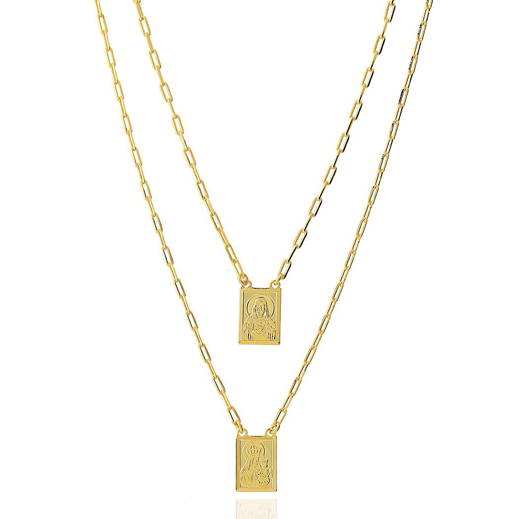 colar escapulario retangular dourado