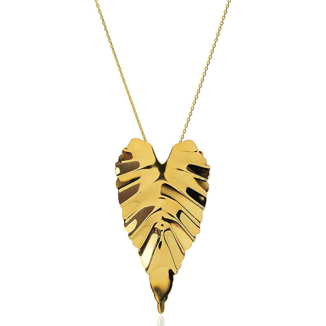 colar folha maxi longo dourado