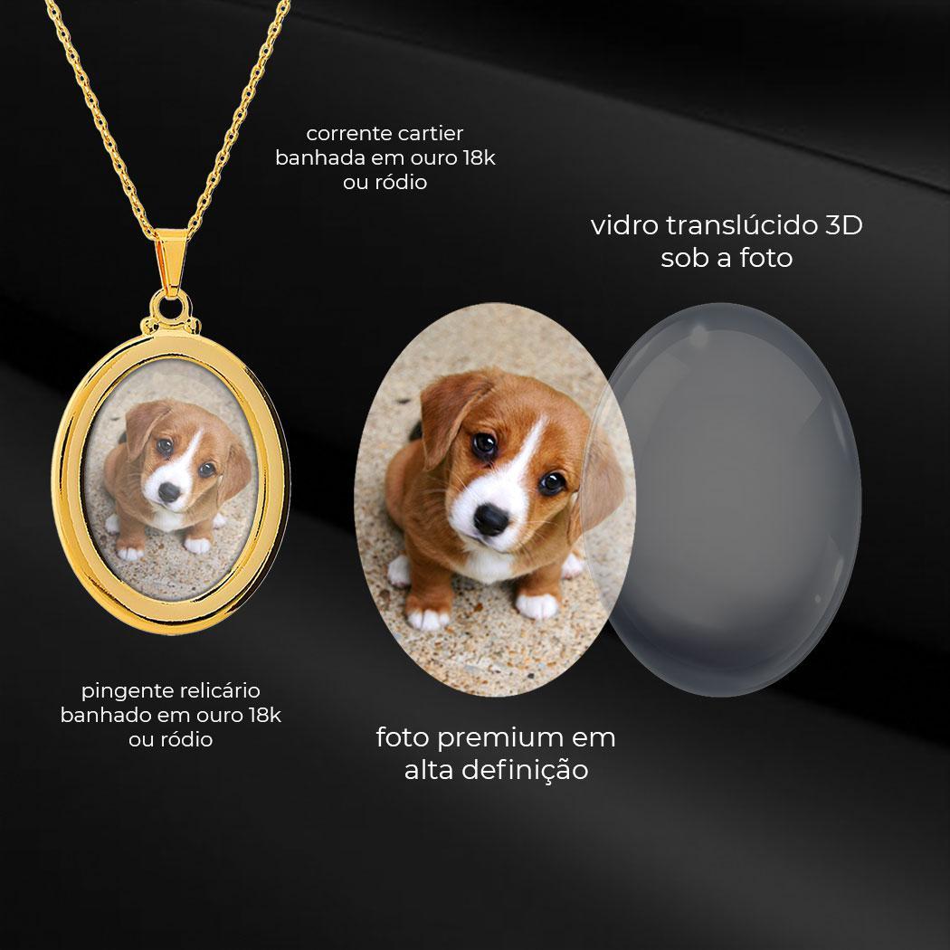 colar foto oval liso relicário dourado