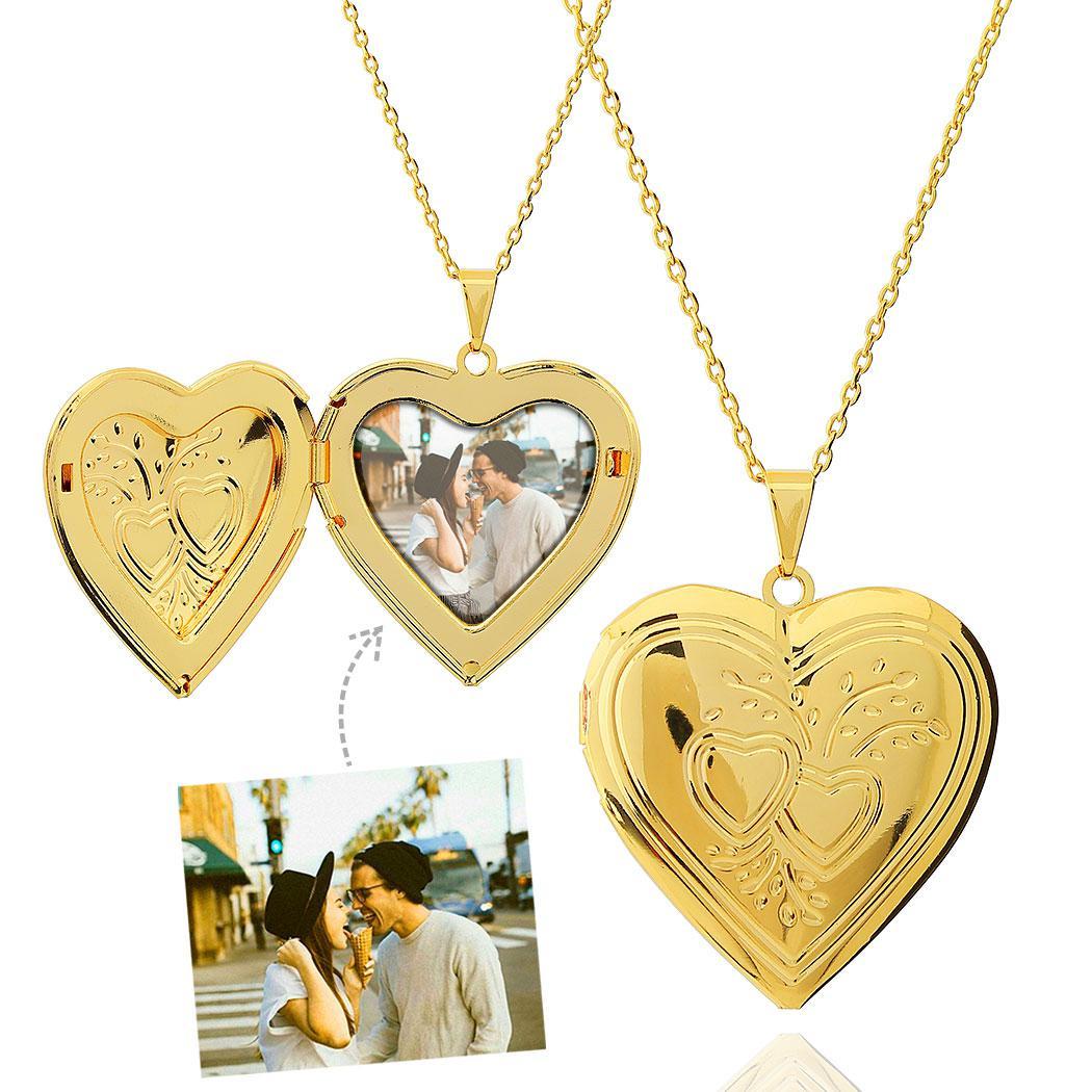 colar foto relicário coração grande dourado