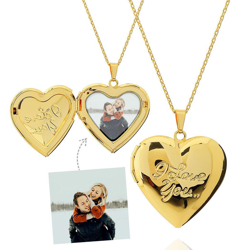 colar foto relicário i love u dourado