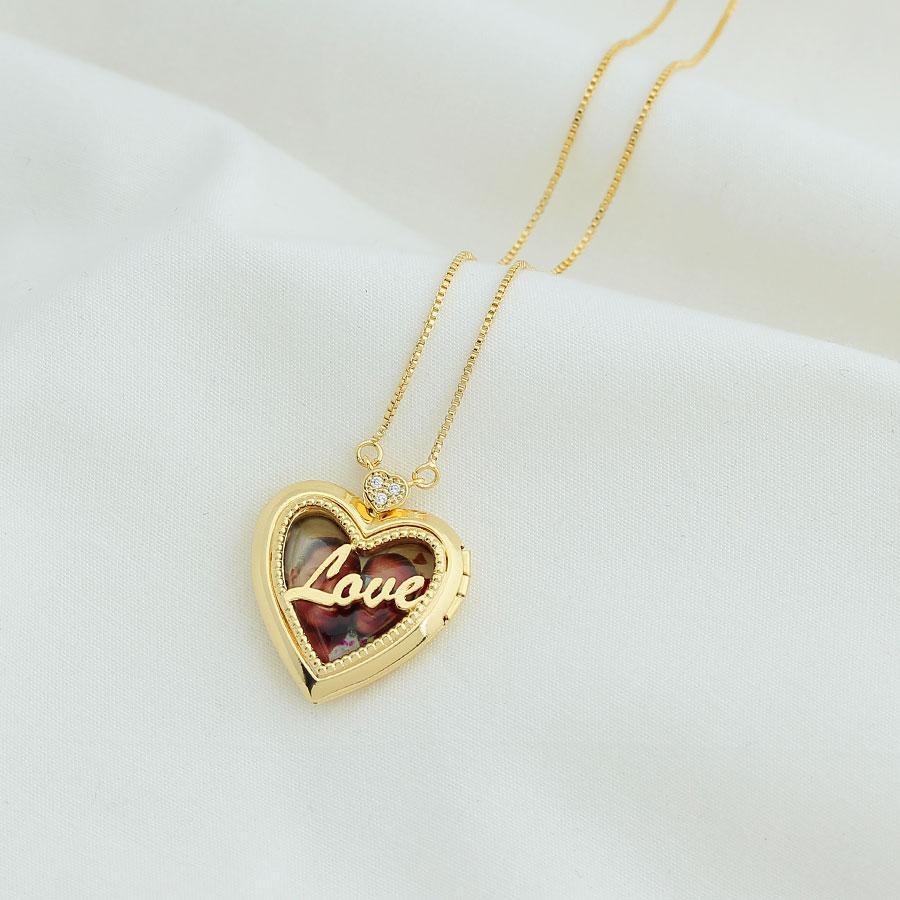 colar foto relicário love dourado