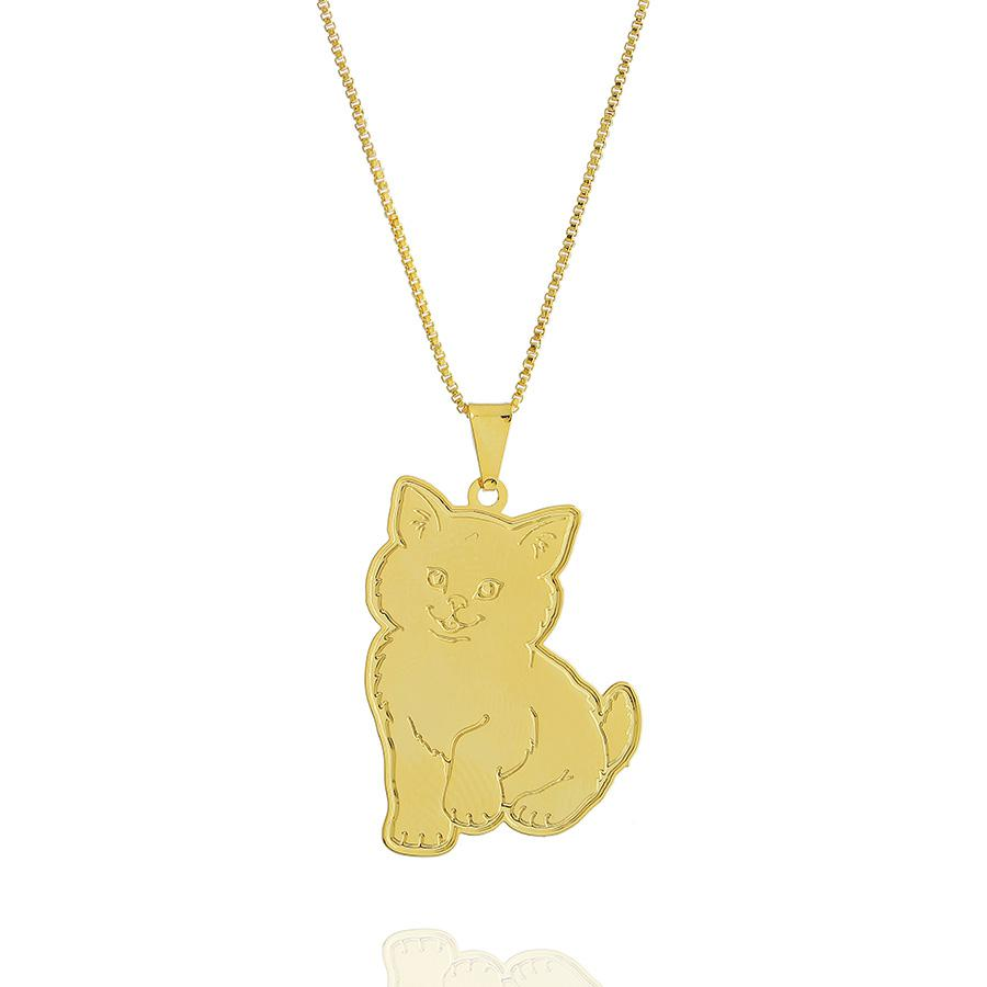 colar gatinho liso grande dourado