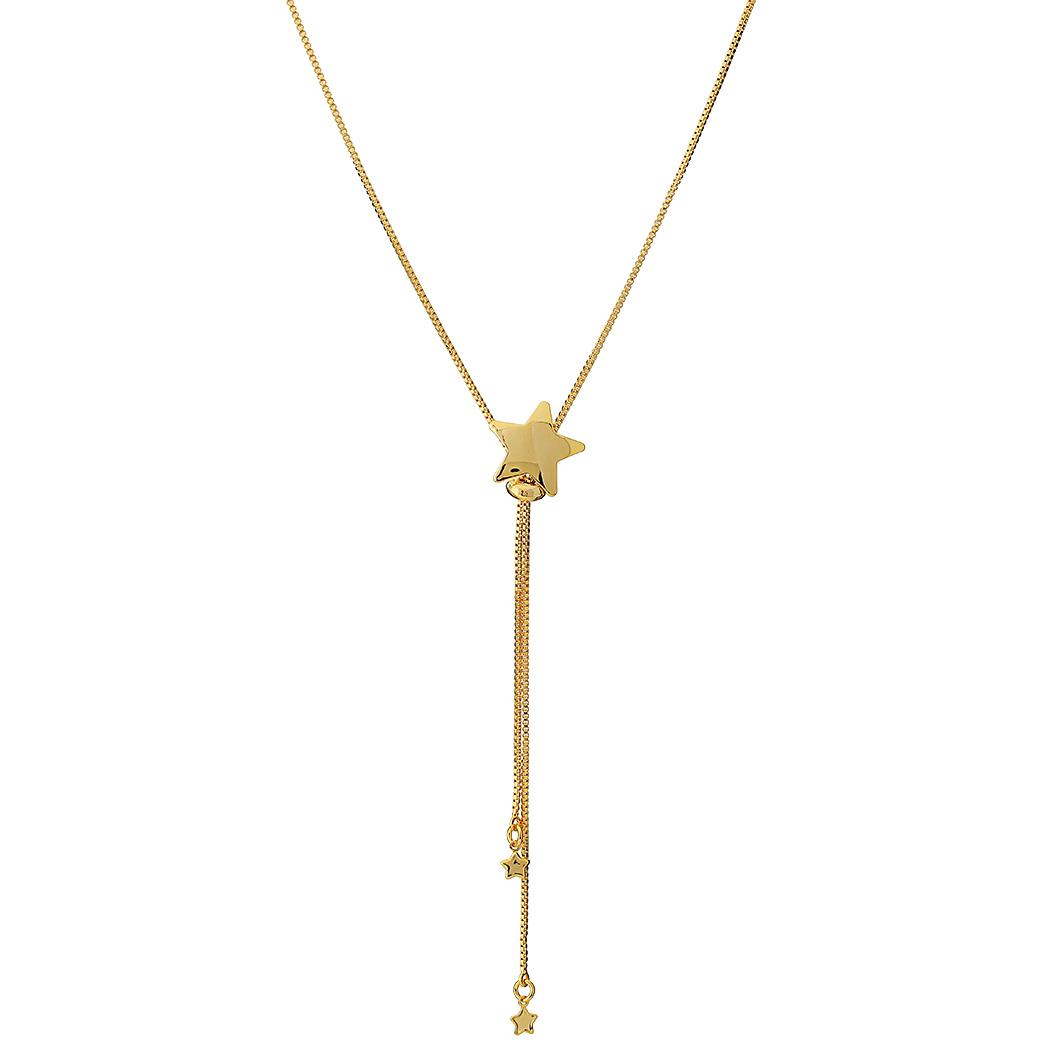 colar gravatinha estrela regulável dourado
