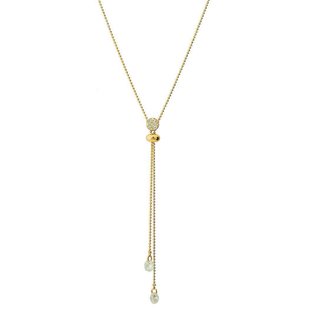 colar gravatinha zircônia bolinhas dourado