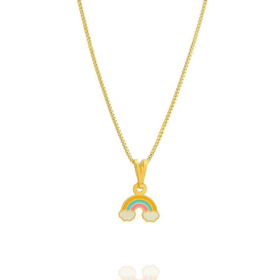 colar infantil arco iris esmaltado dourado